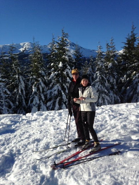 Patti + Rick Cross Country skiing in Whislter